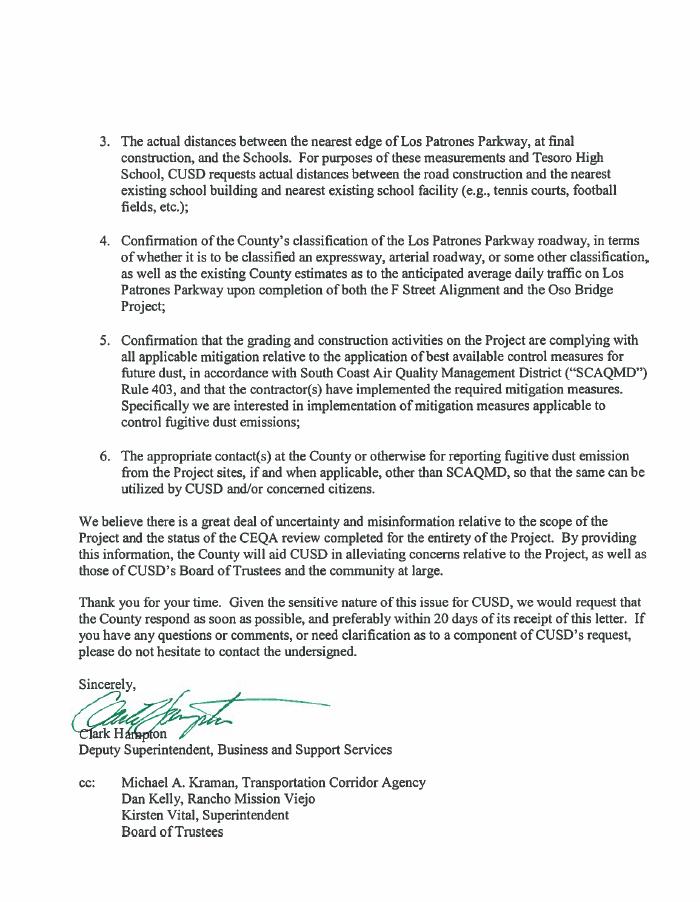 CUSD sends County of Orange a letter regarding Los Patrones