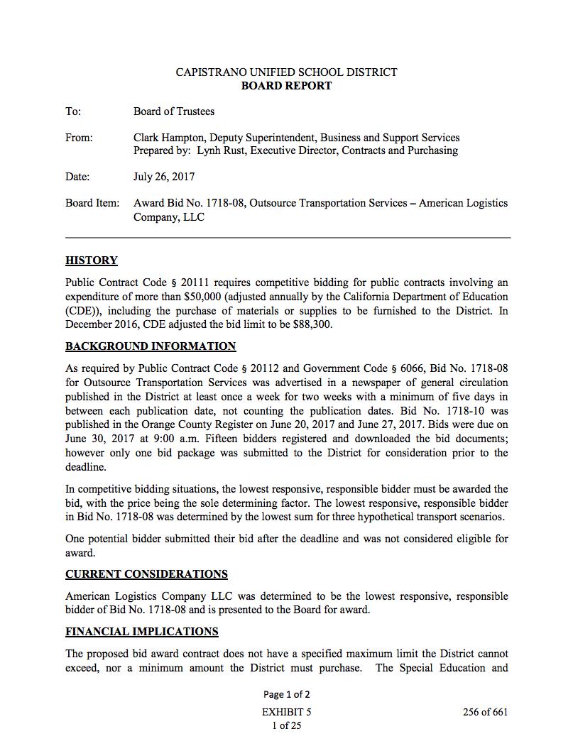 Item 5 Award Bid No 1718 08 Outsource Transportation Services American Logistics Company Llc