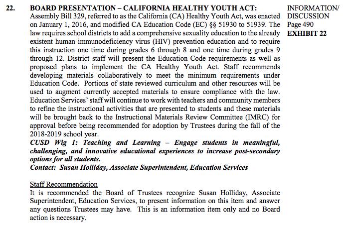 Agenda Item #22 BOARD PRESENTATION- CALIFORNIA HEALTHY YOUTH ACT